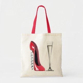 Champagne Flute Glass and Corkscrew Stiletto Shoe Tote Bag