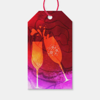 Champagne Flute Heart Pink Red Romantic Valentine Gift Tags