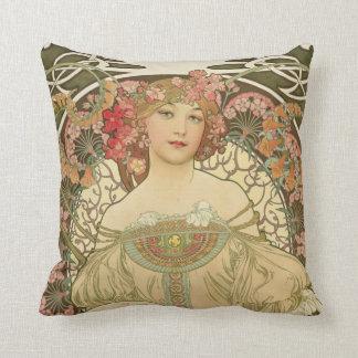 Champagne Girl Alphonse Mucha Throw Pillow