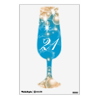 Champagne glass age birthday wall decal