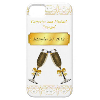 Champagne Glass Gold Wedding or Engagement Date Case For The iPhone 5