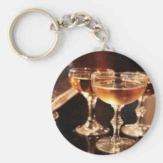 champagne glass golden toast basic round button keychain