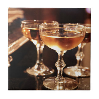 champagne glass golden toast ceramic tile