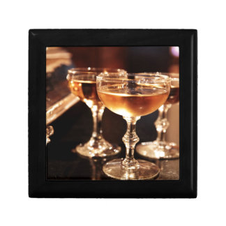 champagne glass golden toast gift box
