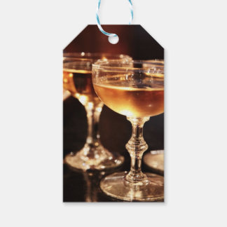 champagne glass golden toast gift tags