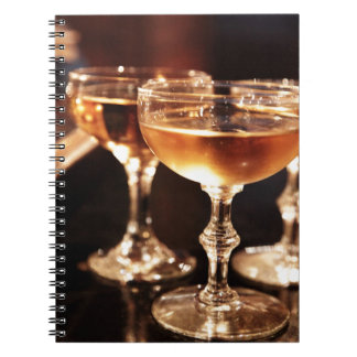 champagne glass golden toast notebook