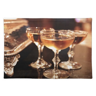 champagne glass golden toast placemat