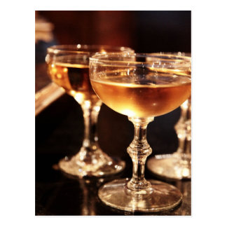 champagne glass golden toast postcard