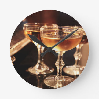 champagne glass golden toast round clock