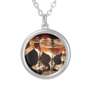 champagne glass golden toast silver plated necklace