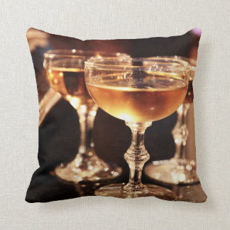 champagne glass golden toast throw pillow