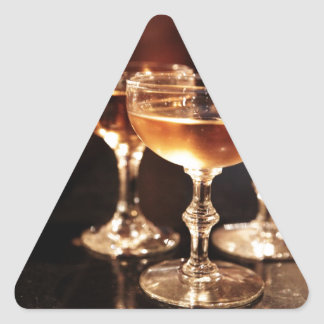 champagne glass golden toast triangle sticker