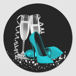 Champagne Glass High Heel Shoe Teal Blue Stickers