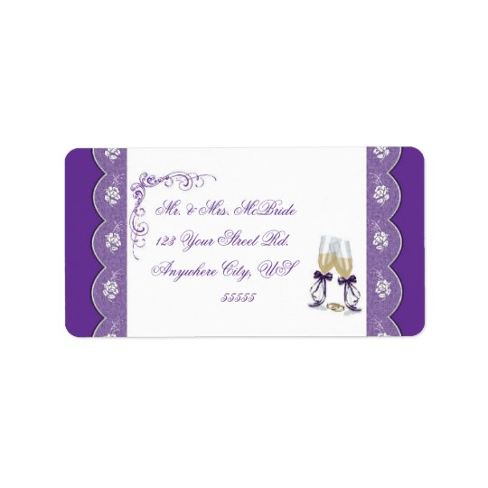 Champagne Glass Wedding Address Labels pu