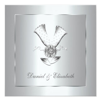 Champagne Glasses 25th Wedding Anniversary Card