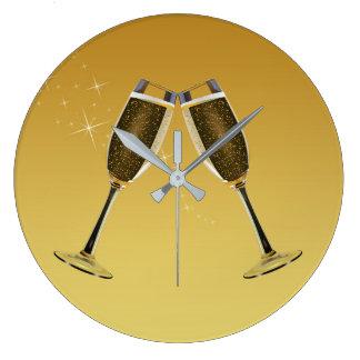 Champagne Glasses Celebration on Gold Large Clock