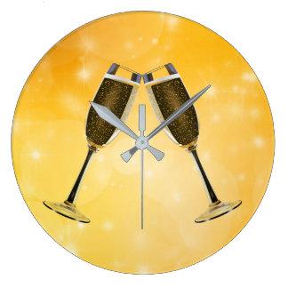 Champagne Glasses Celebration on Sparkling Gold Large Clock
