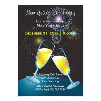 Champagne Glasses & Fireworks-New Year's Eve Party Card