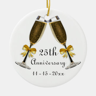 Champagne Glasses Gold Bow Anniversary Custom Year Ceramic Ornament