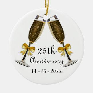 Champagne Glasses Gold Bow Anniversary Custom Year Round Ceramic Ornament