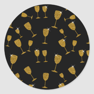Champagne Glasses, New Year, Round Sticker, Glossy Round Sticker