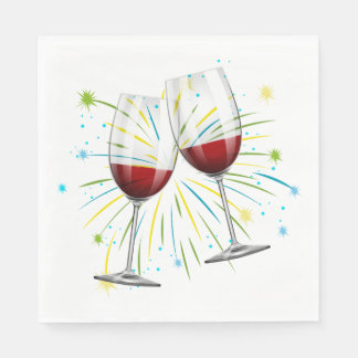 Champagne Glasses  Red Burgundy Wedding / Party Napkin