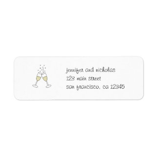 champagne glasses return address sticker