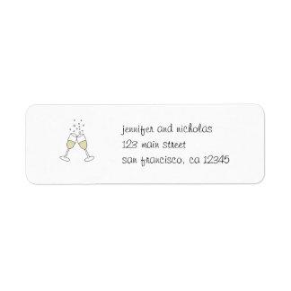champagne glasses return address sticker return address label