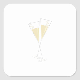 Champagne Glasses Square Sticker