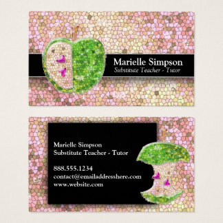 Champagne Glitter Apple Substitute Teacher Tutor Business Card