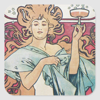 Champagne Goddess Square Sticker