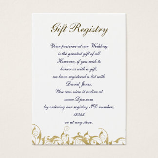 champagne gold Baroque Wedding Business Card