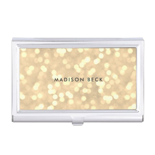 Champagne Gold Bokeh Personalized Business Card Holder