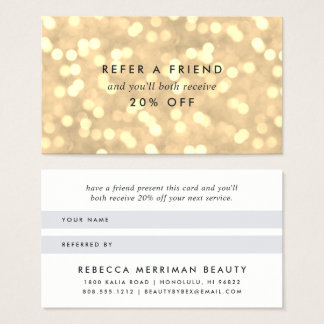 Champagne Gold Bokeh Referral Business Card