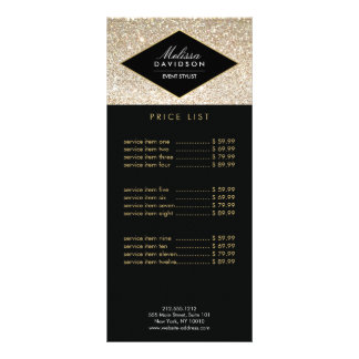 Champagne Gold Glitter and Glamour Rack Card Design