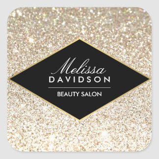 Champagne Gold Glitter and Glamour Square Sticker