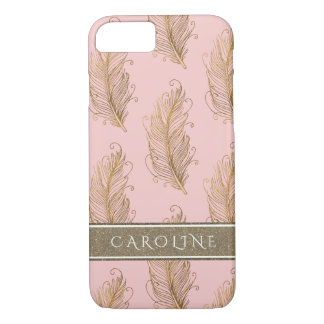 Champagne Gold Glitter Boho Feathers Blush Pink Case-Mate iPhone Case