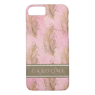 Champagne Gold Glitter Boho Feathers Watercolor Case-Mate iPhone Case