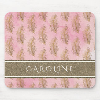 Champagne Gold Glitter Boho Feathers Watercolor Mouse Pad