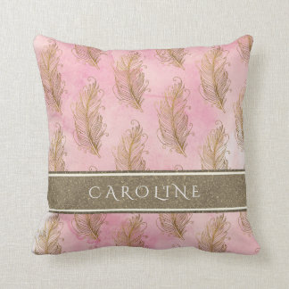 Champagne Gold Glitter Boho Feathers Watercolor Throw Pillow