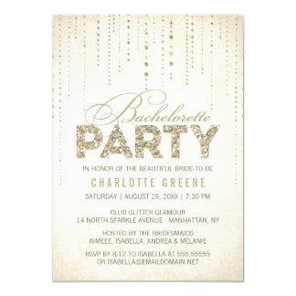 "Champagne Gold Glitter Look Bachelorette Party 5"" X 7"" Invitation Card"