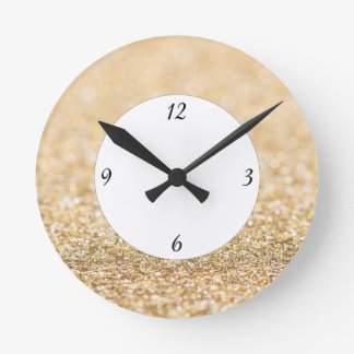 Champagne gold glitter sparkles with numbers round clock