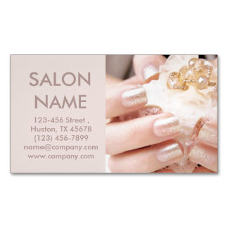 champagne gold nails fashion beauty SPA nail salon Magnetic Business Card