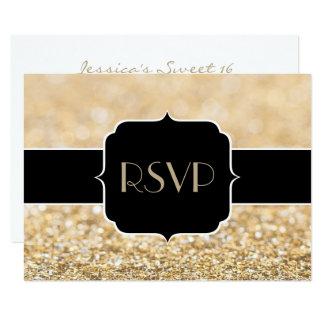 Champagne gold sparkles Sweet 16 RSVP horizontal Card