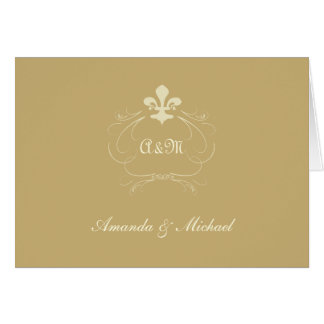 Champagne Gold Wedding Fleur de Lis Thank You Card