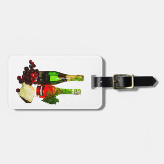 Champagne, grapes and cheese art luggage tag