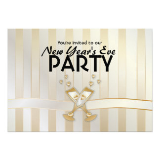 Champagne hearts New Year Party Invitations