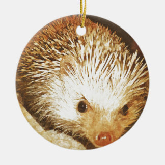 Champagne Hedgehog Digital Vintage Effect Ceramic Ornament
