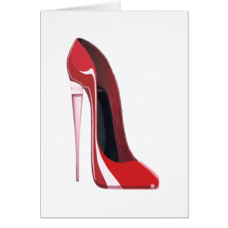 Champagne Heel Flute Red Stiletto Art Card