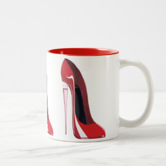 Champagne Heel Red Stiletto Shoe Art Two-Tone Coffee Mug
